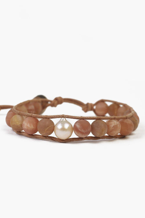 Matte Sunstone Single Wrap Bracelet with Natural Pink Baroque Pearl