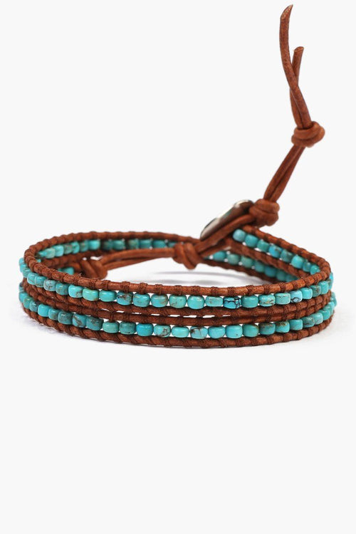 Turquoise Double Wrap on Natural Brown Leather