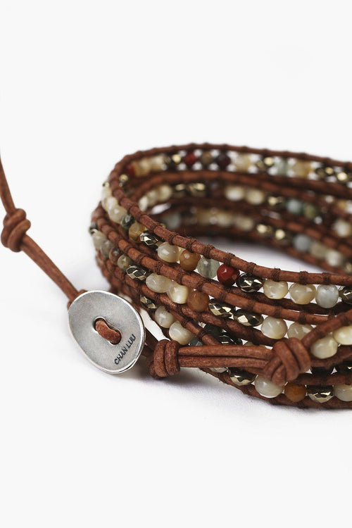 Multi-Mix Five Wrap Bracelet on Natural Brown Leather