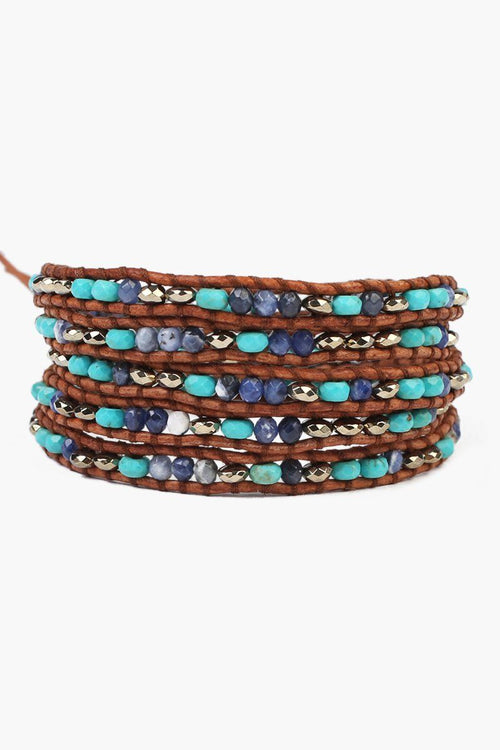 Turquoise Mix Five Wrap Bracelet on Natural Brown Leather