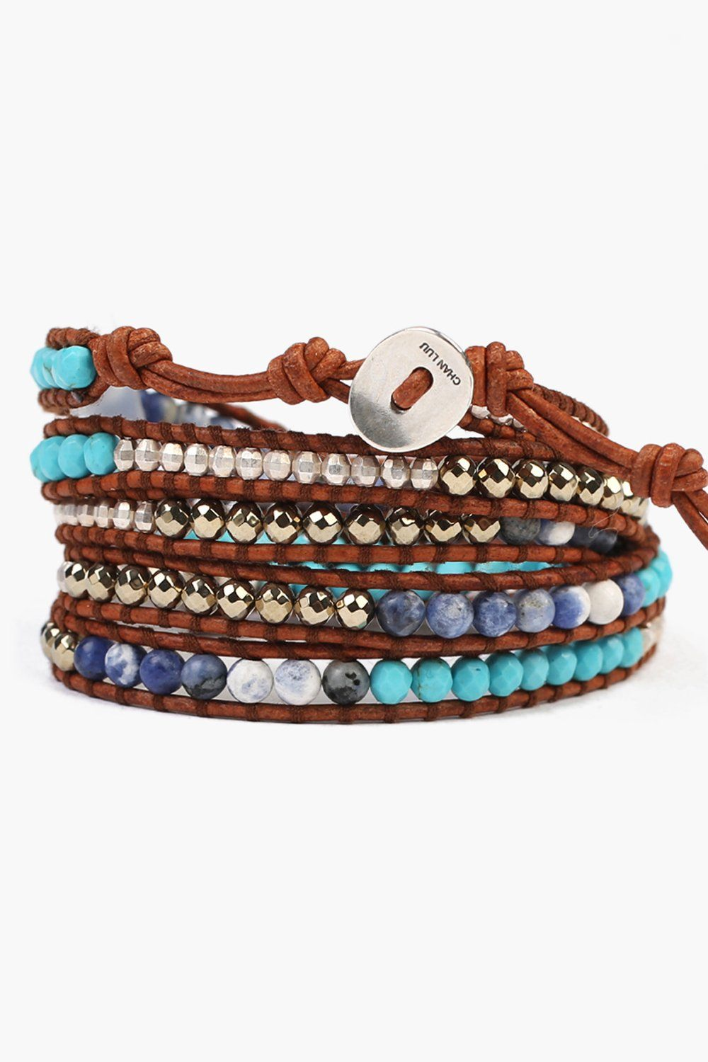 Turquoise and Sodalite Mix Wrap Bracelet