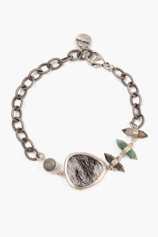 Grey Mix Adjustable Charm Pull-Tie Bracelet