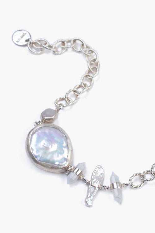 White Mabé Pearl Mix Adjustable Bracelet