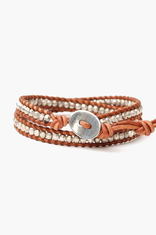 Natural Brown Chain Double Wrap Bracelet
