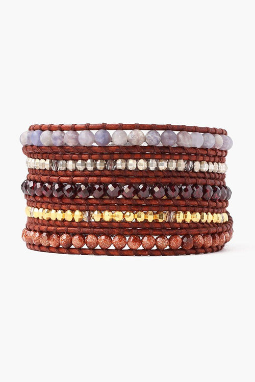 Garnet Mix Five Wrap Bracelet