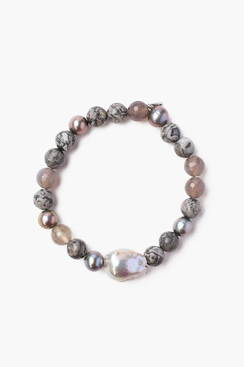 Grey Onyx Mix Stretch Bracelet With Peacock Blue Freshwater Pearl (Pre-Order)