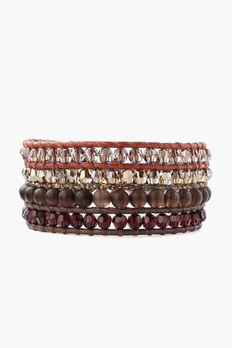 Smoky Quartz and Crystal Mix Multi Strand Wrap Bracelet