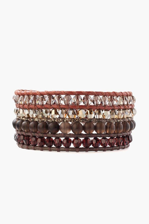 Smokey Quartz and Crystal Mix Multi Strand Cuff Bracelet