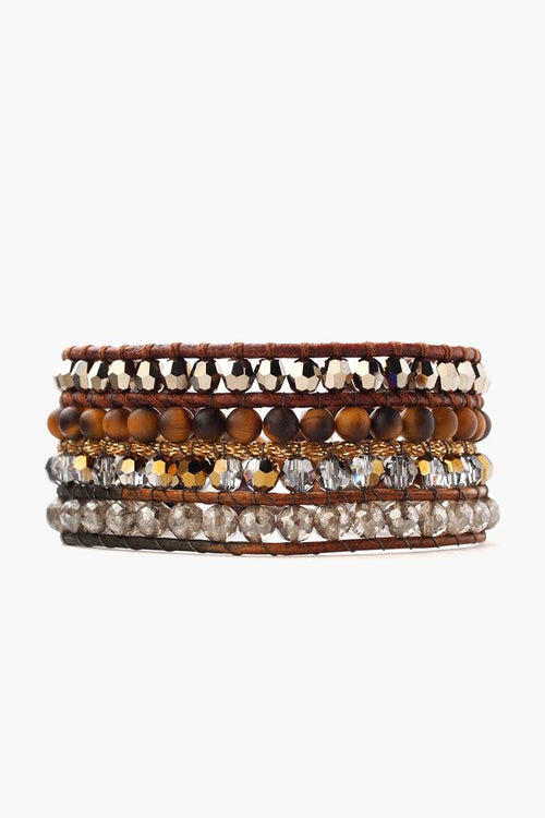 Tiger's Eye and Crystal Mix Multi Strand Cuff Bracelet