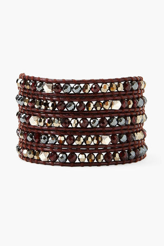 Gold and Garnet Mix Wrap Bracelet