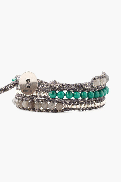 Malachite Mix Three Wrap Bracelet