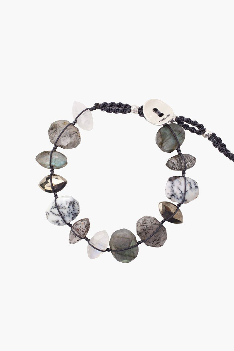 Labradorite Mix Single Wrap Bracelet on Charcoal Cord