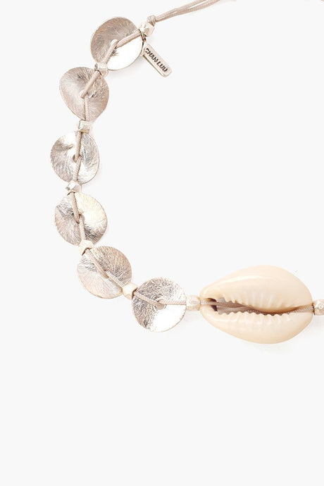 Silver Discs and Cowry Shell Pull-Tie Bracelet