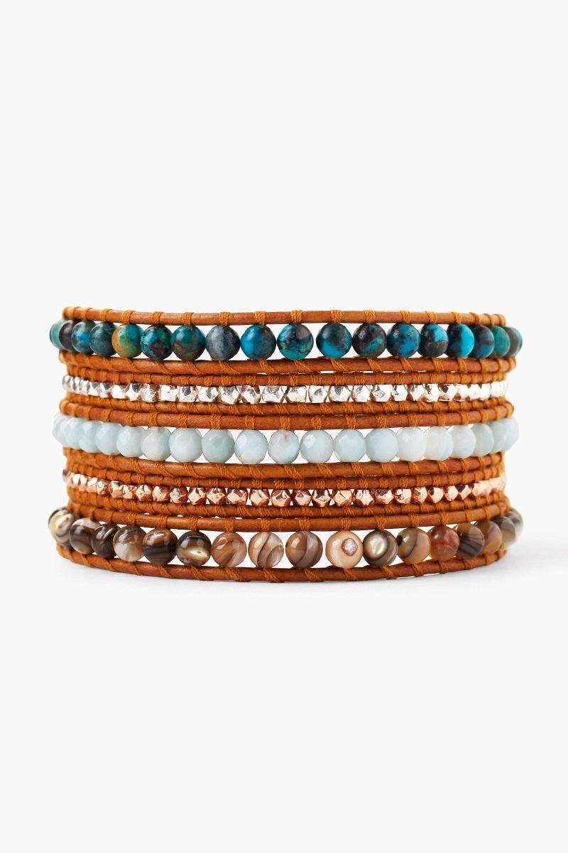 Compressed Turquoise Mix Wrap Bracelet