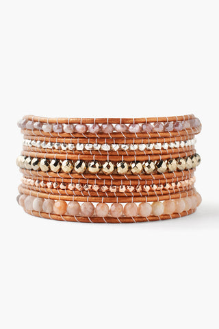 Sunstone Mix Five Wrap Bracelet