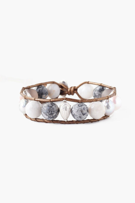 Grey Mix Baroque Pearl Single Wrap Bracelet