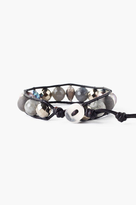 Pyrite Mix Baroque Pearl Single Wrap Bracelet