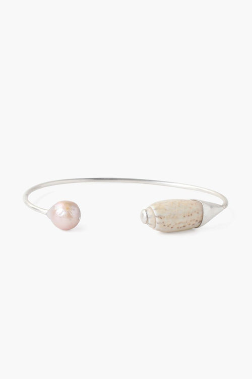Natural Pink Pearl and Hispidula Shell Cuff