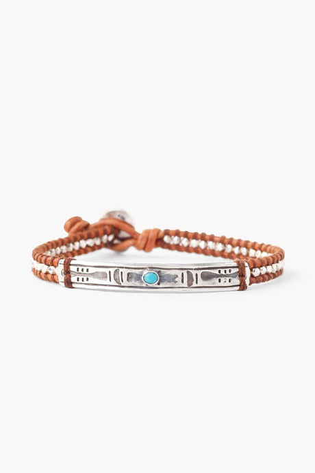 Turquoise Etched Bar Single Wrap Bracelet