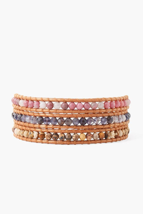 Iolite Mix Three Wrap Bracelet on Bronze Leather