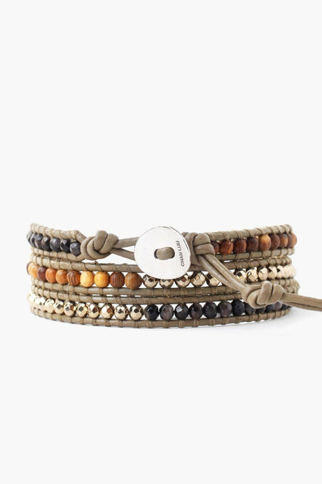 Pyrite Mix Three Wrap Bracelet