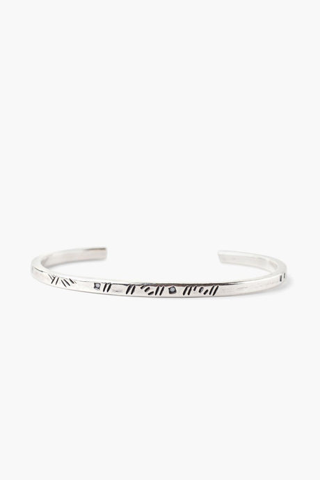 Silver Line Engraved Cuff