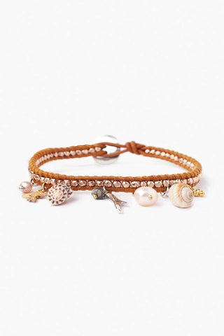 White Baroque Pearl and Cowry Shell Cuff