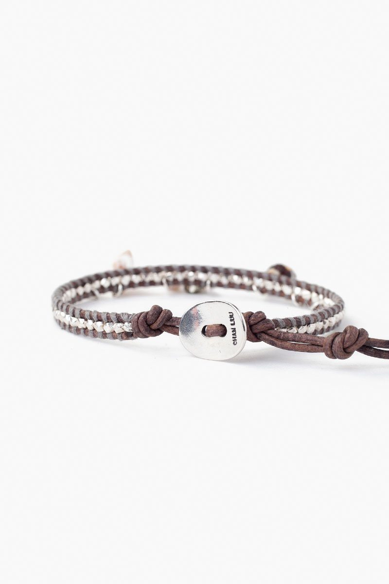 Silver Sea Charm Single Wrap Bracelet