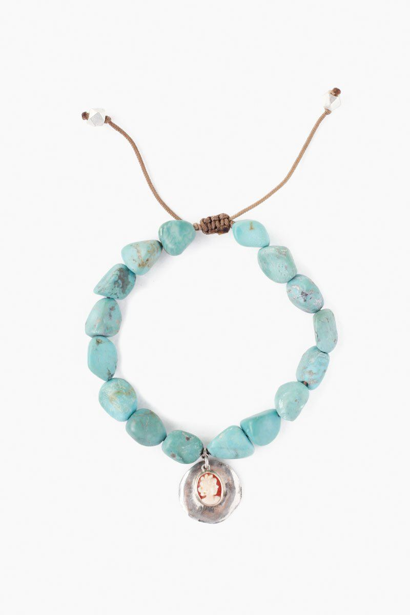 Turquoise and Cameo Charm Pull-Tie Bracelet