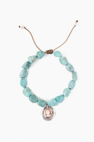 Turquoise and Cameo Charm Necklace