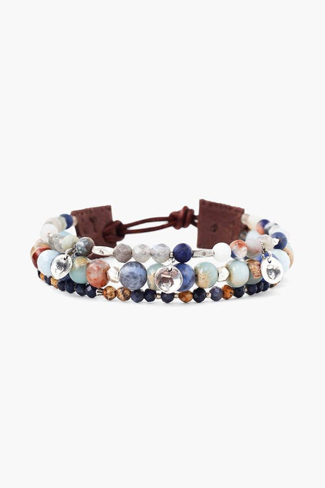 Blue Mix Multi-Strand Wrap Bracelet