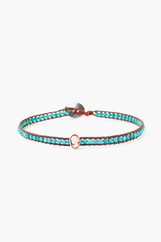 Turquoise and Cameo Charm Single Wrap Bracelet
