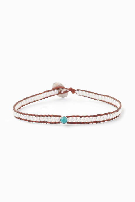 White Pearl and Turquoise Charm Single Wrap Bracelet