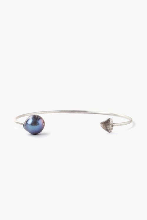 Peacock Blue Baroque Pearl and Shark Tooth Cuff