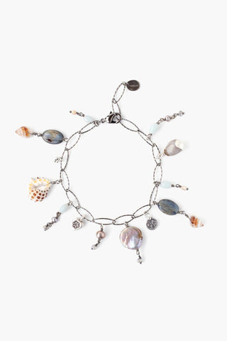 Silver Beaded and Shell Pull-Tie Bracelet