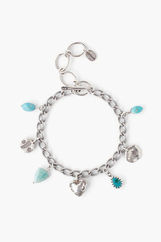 Blue Mix Sea Charm Hoop Earrings