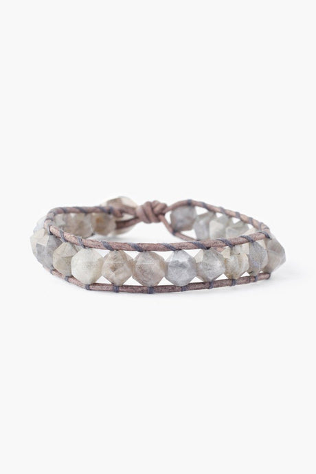 Labradorite Single Wrap Bracelet on Natural Grey Leather