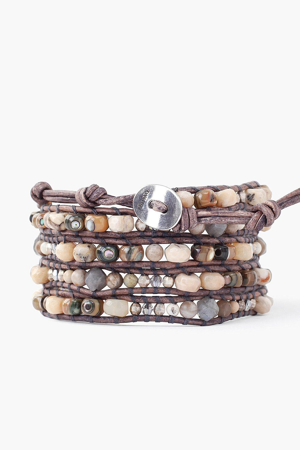 Abalone Mix Wrap Bracelet on Natural Grey Leather