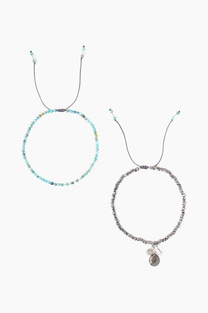 Gunmetal and Turquoise Pull-Tie Bracelet Set