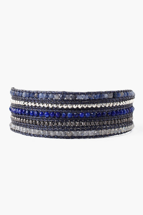 Blue Mix Wrap Bracelet on Indigo Cord