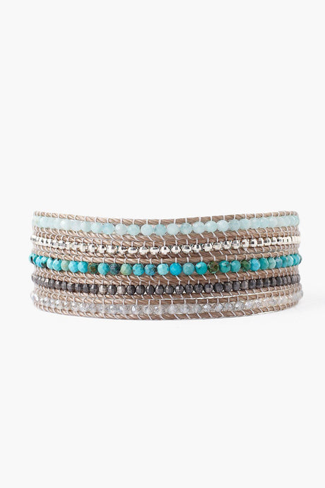 Turquoise Mix Wrap Bracelet on Sand Cord