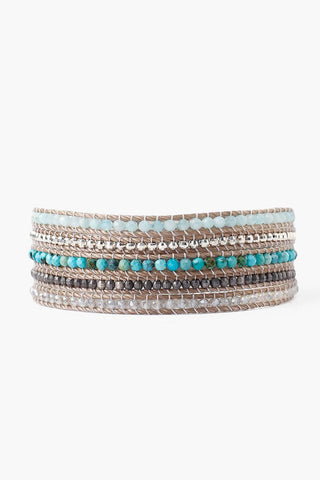 Turquoise Mix Double Wrap Bracelet on Sand Cord