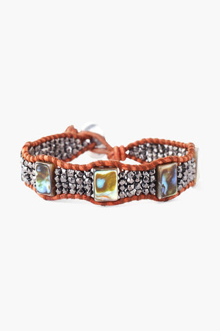 Gunmetal and Abalone Mix Single Wrap Bracelet