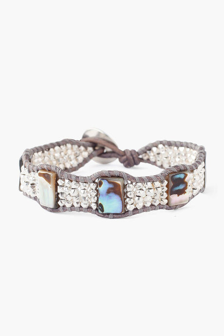 Silver and Abalone Mix Single Wrap Bracelet