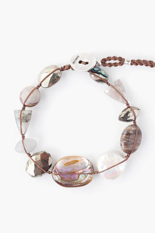 Abalone Mix Atlantis Bracelet on Taupe Cord