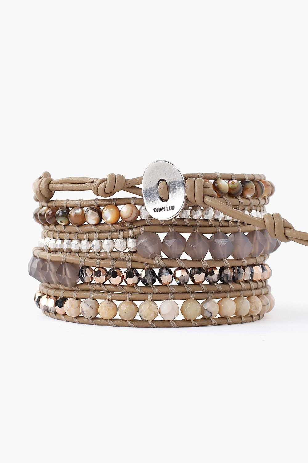 Abalone Mix Wrap Bracelet on Beach Leather