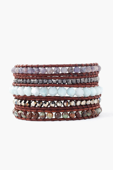 Amazonite Mix Wrap Bracelet on Natural Dark Brown Leather