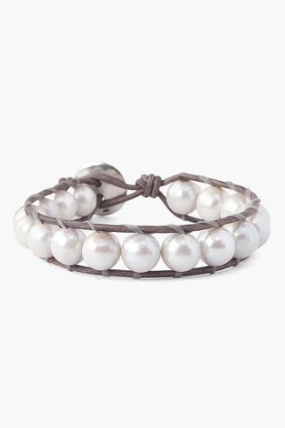 White Baroque Pearl Single Wrap Bracelet