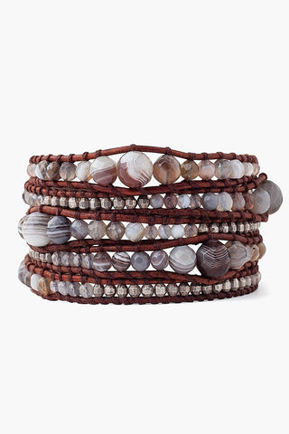 Botswana Agate and Antique Silver Nugget Wrap Bracelet