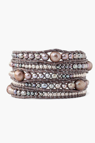Dark Champagne Pearl Wrap Bracelet on Natural Grey Leather